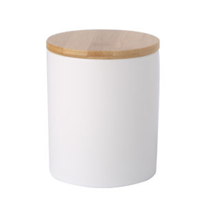 320ml Airtight White Ceramic Canister Candle Jar With Bamboo Lid