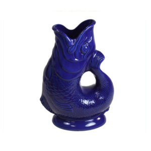 Blue Ceramic Guggle Fish Water Pot Jug