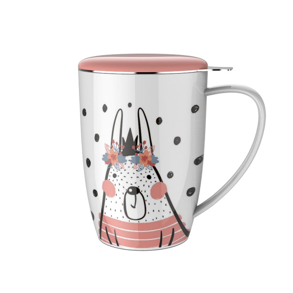 Cat Design Pink Ceramic Mug with Stainless Steel Infuser And Lid