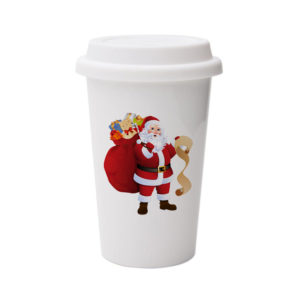 Custom Printed Christmas Design Ceramic Double Wall Ceramic Coffee Mug With Silicone Lid