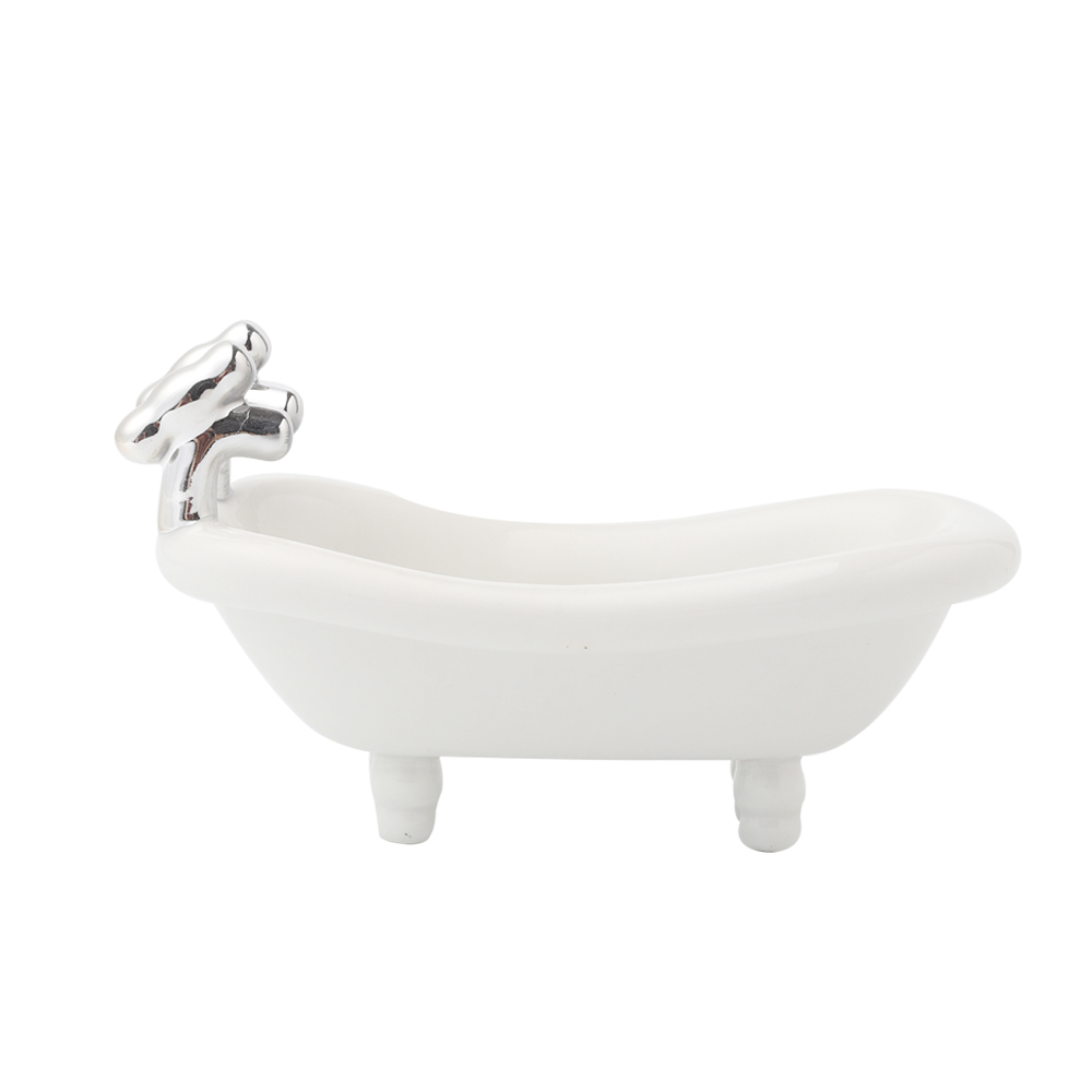 Cute Designed BRT Ceramic Mini Bathtub Shaped Soap Dish For Bathroom Decoration