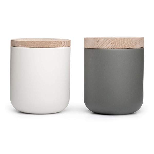 Fashionable Matt Simple Style Ceramic Candle Jar With Wooden Lid