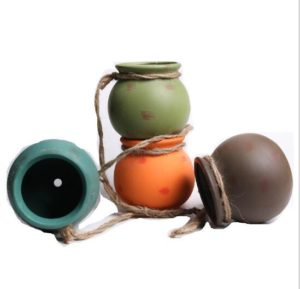 Set of 4 Colorful Round Shaped Ceramic Hanging Flower Planter Pot