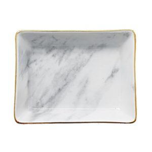 Square Marble Effect Ceramic Jewelry Ring Dish Holder
