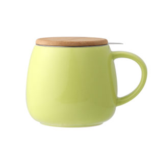 Bamboo Lid Green Ceramic Tea Mug With Stainless Steel Infuser