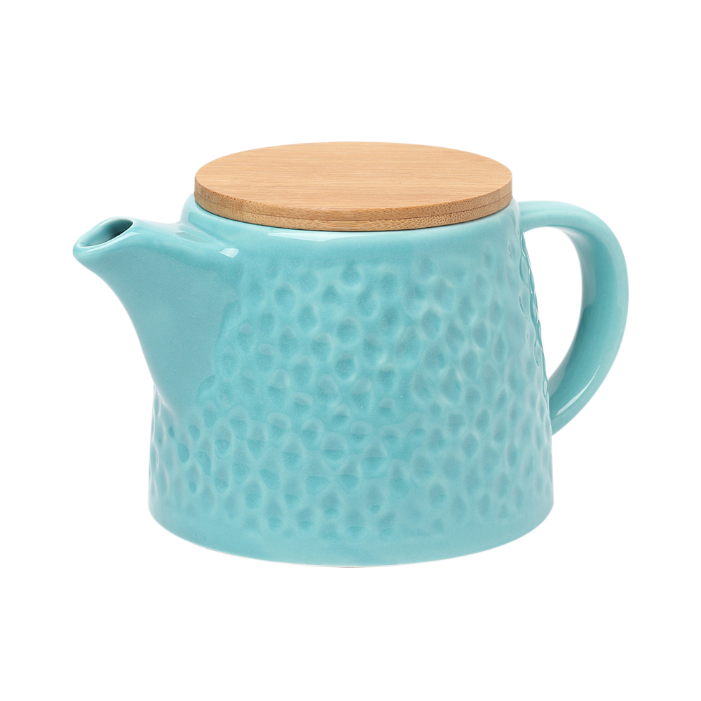 Teal Color Ceramic Teapot With Stainless Steel Infuser and Bamboo Lid