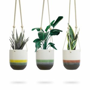 Three Colors Dip Hanging Ceramic Flower Planter Pot