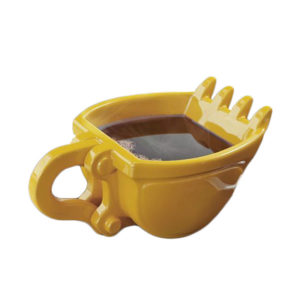 Yellow Ceramic Excavator Coffee Mug Cup