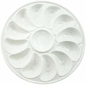 "BRT 11"" 12 Wells White Ceramic Oyster Plates Dish Tray With Sauce Holder"