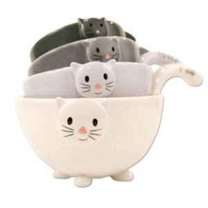 Set of 4 Stackable Ceramic Cat Measuring Cups Bowl