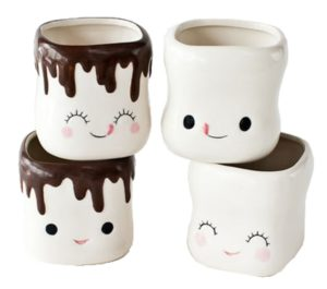 Cute Marshmallow Shaped Hot Chocolate Ceramic Cup -Set of 4