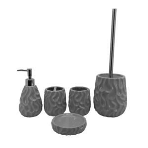 Factory Direct Nice Design Fashion Grey Ceramic Bathroom Accessories Set