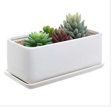 White Rectangle Ceramic Flower Planter Pot