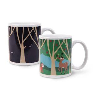 Ceramic Woodland Designed Ceramic Color Changing Magic Heat Sensitive Mug