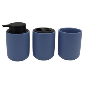 Matt Blue Glazed Ceramic Bathroom Set Accessory