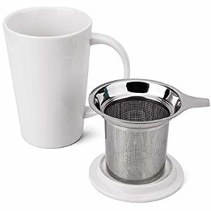 Ceramic Tea Mug With Strainer And Lid