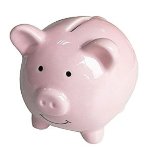 Ceramic Pink Piggy Coin Bank Box