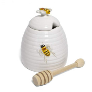 Ceramic Bee Honey Pot With Wooden Dipper