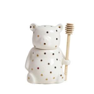 Ceramic Bear Shaped Honey Pot With Dipper