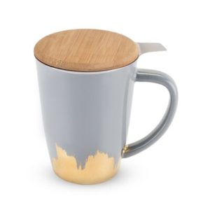 Grey Ceramic Tea Mug With Bamboo Lid
