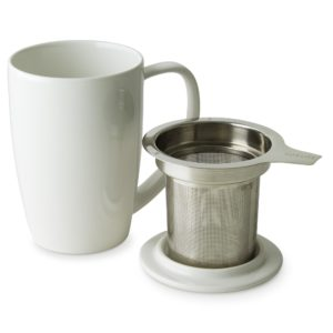 White Ceramic Tea Mug With Stainless Steel Infuser