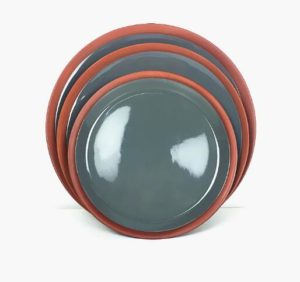 Color Glazed Round Shaped Terracotta Plate Dinnerware Tableware