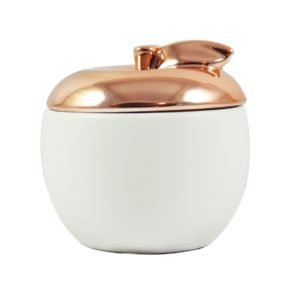 Golden Electroplating Apple Shaped Ceramic Candle Jar