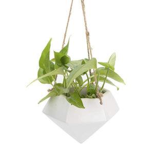 Diamond Shaped Ceramic Hanging Flower Planter Pot