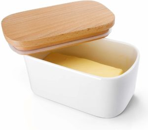 White Rectangle Shaped Ceramic Butter Container