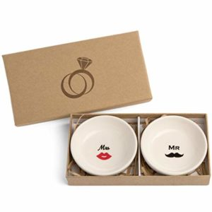 Round Shaped Mrs & MR Ceramic Ring Dish Jewelry Holder
