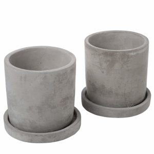 4-Inch Gray Unglazed Cement Succulent Planter Pots with Removable Saucer