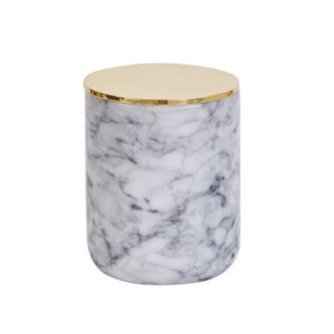 Marble material candle jar with stainless steel lid
