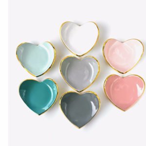 Heart Shaped Ceramic Ring Dish Jewelry Holder Dish