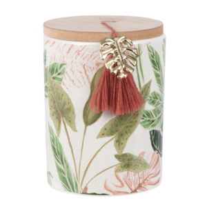Spring Flower Design Ceramic Canister With Wooden Lid