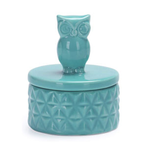 Teal Owl Design Ceramic Jewelry Ring Dish