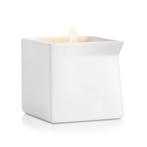 Square White Ceramic Massage Candle Jar With Spout