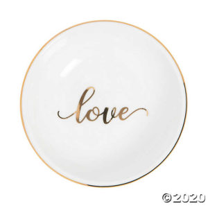 Round Shaped Ceramic Love Trinket Dish For Wedding