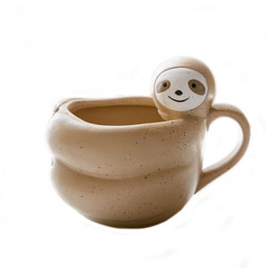 3D Cartoon Character Brown Three-tied Ceramic Sloth Mug