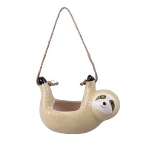 Cute Beige Sloth Ceramic Hanging Planter Pot