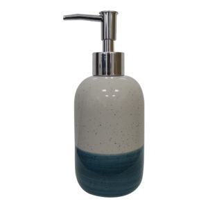 White and Teal Dots Dipping Two Tone Color Glaze Liquit Ceramic Soap Dispenser