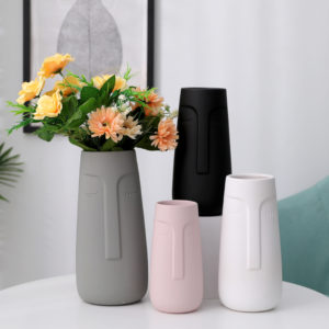 Modern elegant tall matte face shape soft ceramic flower vase