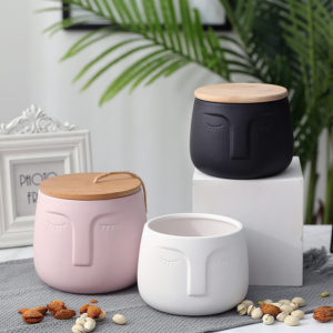 modern face design rubber paint food ceramic container canister storage jar