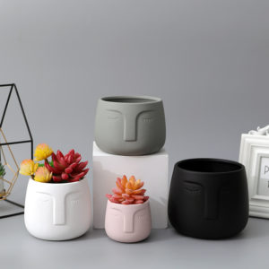 modern face Matte ceramic soft rubber paint ceramic succulent flower planter pot
