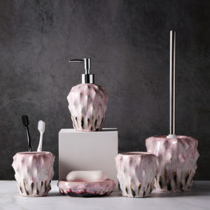6pcs Reactive Glaze Ceramic Bathroom Accessories Sets