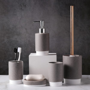 Dot Design Two Tones Color Glazed 6pcs Ceramic Bathroom Accessories Sets