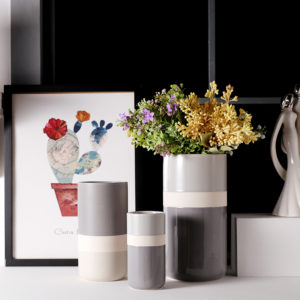 Three Tones Color Glazed Ceramic Flower Vase