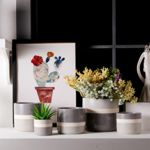 Three Tones Color Glazed Grey Ceramic Flower Pots