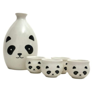 Adorable Ceramic Panda Family Sake Set with 4 Cups and 1 Server Bottle